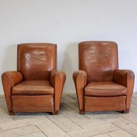 Pair of Mid 20th Cent French Leather Armchairs