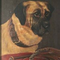 19th Cent Oil on Canvas of a Dog