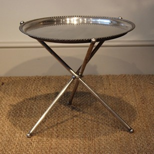 An Italian Silver-Plated Circular Tray Table, 1950