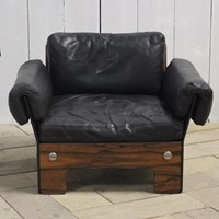 1960 Leather & Rosewood Armchair by Sigurd Ressel