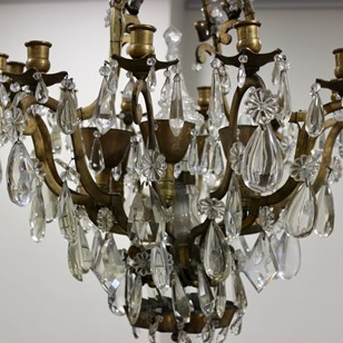 Great 1930s French Bronze & Crystal Chandelier