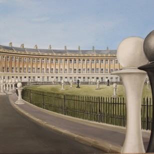1970s Painting of The Royal Crescent, Bath