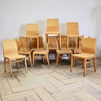Set of 14 Circa 1970s Plywood Dining Chairs