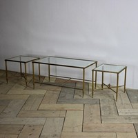 Set of 1970s italian Gilt Brass Nest of tables