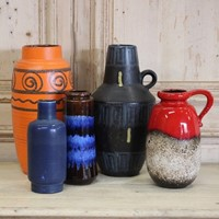 Set of Five 1960s West German Ceramic Vases