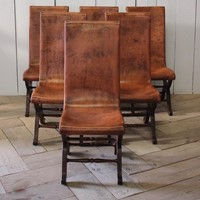 Set of Six 1960s Spanish Slipper Chairs in Leather