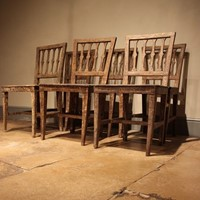 Set of Six 19th Cent Painted Swedish Dining Chairs
