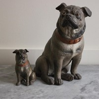 Set of Two Late 19th CPainted Terracotta Pugs