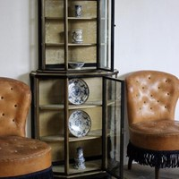 C19th French Brass Bound ebonised Display Cabinet