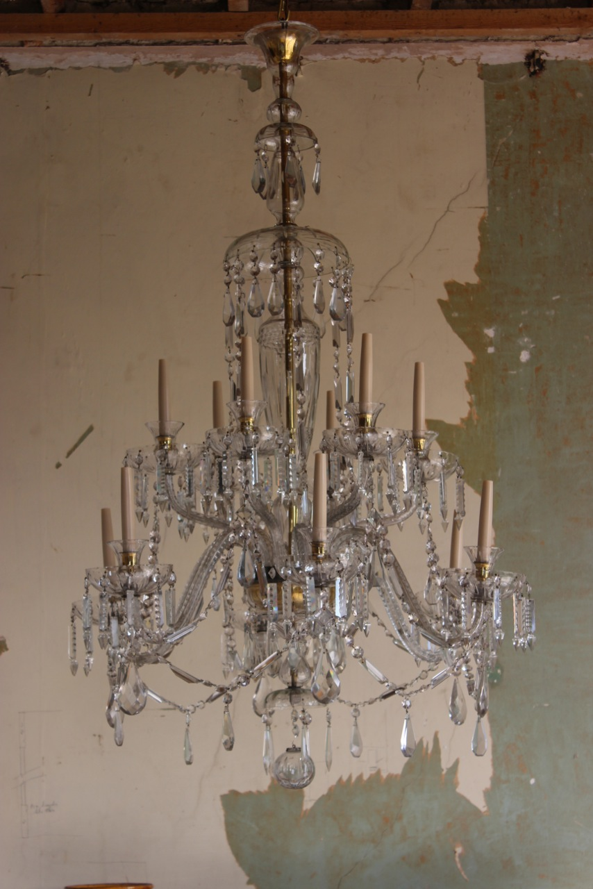 Zoom; Spectacular 1930s Large 12 Light Glass Chandelier -brownrigg-spectacular-1930s-large- - Spectacular 1930s Large 12 Light Glass Chandelier - Decorative
