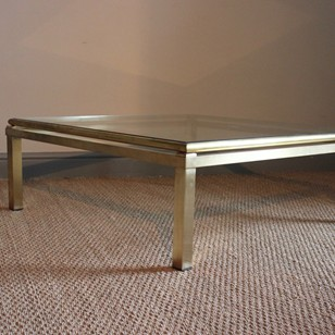 Stylish 1960s Square Brass Coffee Table