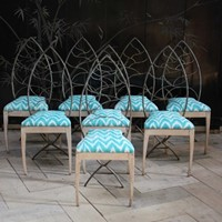 Stylish set of Eight 1940s Dining Chairs