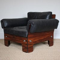 Superb 1960s Leather and Rosewood Armchair by Sigu