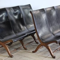 Pair of 1960s Spanish Leather Sofas/ Benches