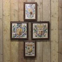 Two Pairs of C19th Spanish Faience Armorial Tiles