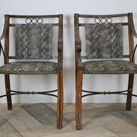 Pair of 1950s French Armchairs in Faux Snakeskin