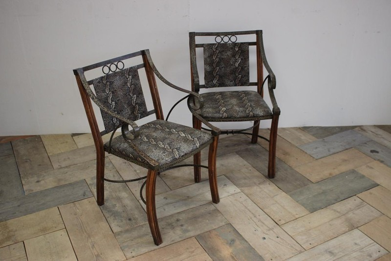 Pair of 1950s French Armchairs in Faux Snakeskin-brownrigg-unusual-pair-of-1950s-french-armchairs-in-faux-snakeskin-16-E4-main-636606940163788035.jpeg