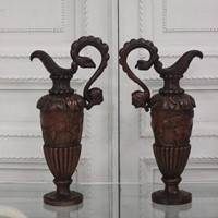 Unusual pair of 19th century Italian Walnut Ewers