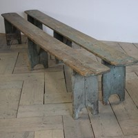 Pair of Large 19thC Painted Benches