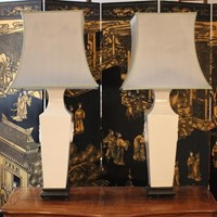 Pair of Very Large Scale Glazed Ceramic Lamps
