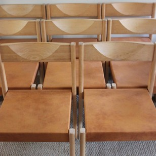 Set of Eight 1970s Dining Chairs in Leather