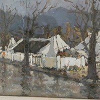 Rural Scottish Village Oil on Board