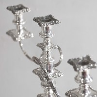 Pair of 19c silver plated candelabras now on sale