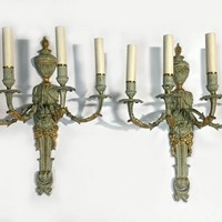 Pr 1920s Painted & Gilded Metal Wall Lights