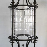 An Italian bronze and cut glass lantern