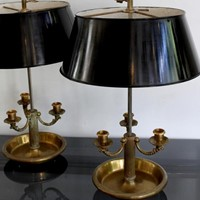 Set of four 1940s brass bouilotte lamps