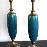 A pair of crackle glaze blue lamps