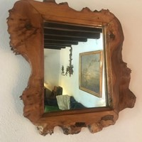 French 1970's olive wood framed mirror