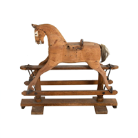 19th Century Carved Wooden Rocking Horse