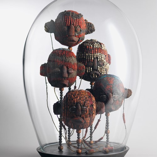 Mouthblown Glass Dome with 5 Fine Beaded Heads
