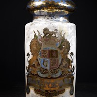 Large 19th C, Pharmacy hand painted dispensing Jar