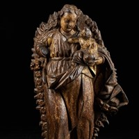 18th C Spanish Shool,Gilded Wooden Sculpture