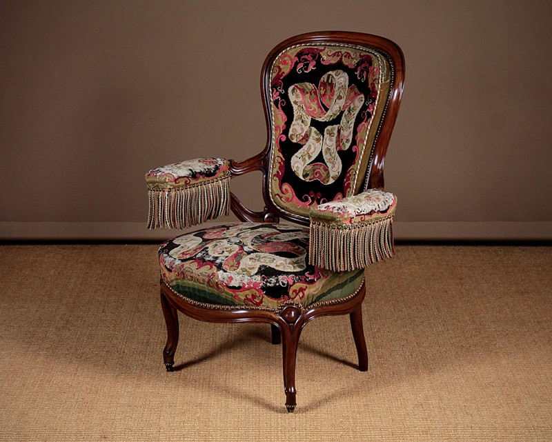 French Walnut Open Armchair with Original Covers.-collinge-antiques-img-0154-main-637280048536953528.jpg