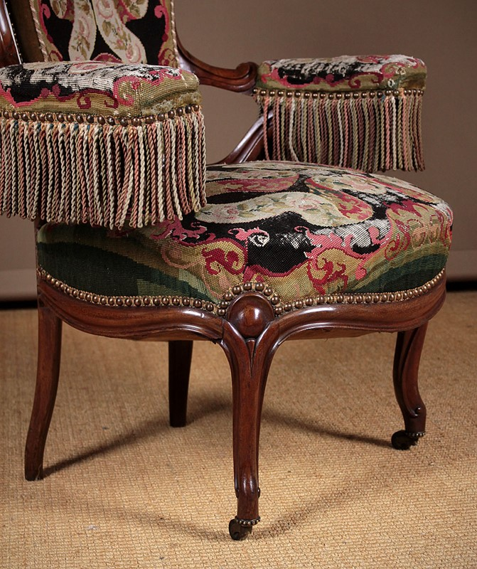French Walnut Open Armchair with Original Covers.-collinge-antiques-img-0157-main-637280048723827299.jpg