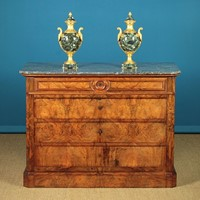 Burr Walnut Marble Top Chest of Drawers.