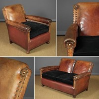 Early 20th.c. Bothy Type Leather Sofa & Armchair.