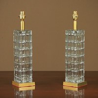 Pair Mid 20th.c. Cut Glass Table Lamps c.1960.