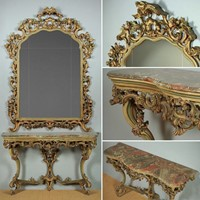 Carved Italian Marble Top Console Table & Mirror.