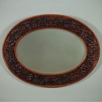 Oval Carved Oak Wall Mirror c.1910.