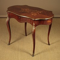Marquetry Inlaid Rosewood Window Table.