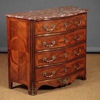 Marble Top Parquetry Chest of Drawers.