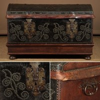 19th.c. Leather Bound Trunk on Stand.