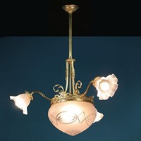Gilded Three Branch Hanging Light c.1910.