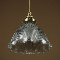 Pendant Light & Glass Shade by Holophane c.1910