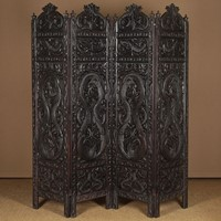 Large 19th.c. Chinese Dragon Carved Screen.