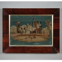 Early 19th.c. Framed Woolwork of Penrhyn Castle.